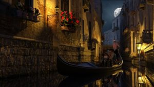 venice gondola midnight